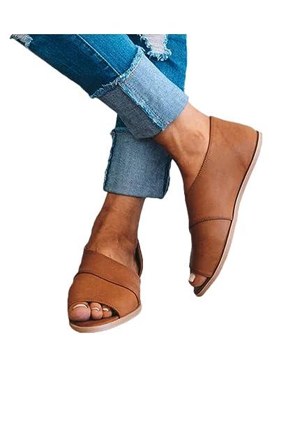 c7d5c182fc63e 2019 Women's Retro Wedge Flats Sandals Peep Toe Fish Mouth Shoes ...