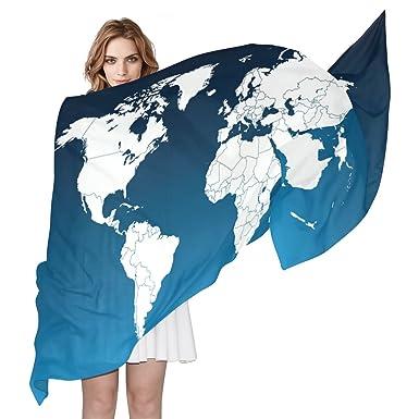 Coosun world map silk scarf lightweight long scarf shawl wrap for coosun world map silk scarf lightweight long scarf shawl wrap for women gumiabroncs Images