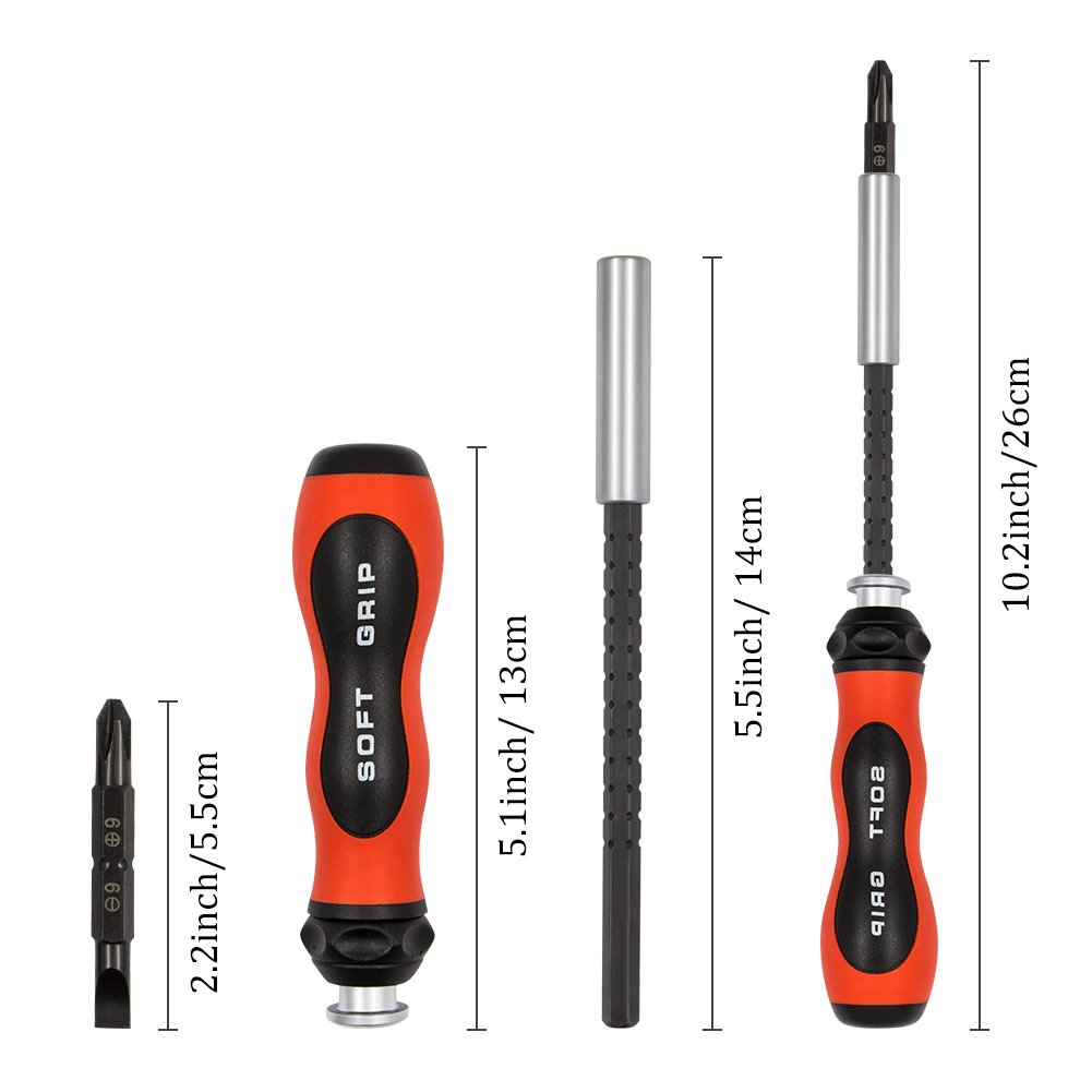 Magnetic Screwdriver set,QM-STVR Professional Repair Tools Kit with 24 Bits Driver Kit for Laptops Phones Game Consoles Watch,Macbook and Other Devices (Tools Kit with 24 Bits&Extension rod)