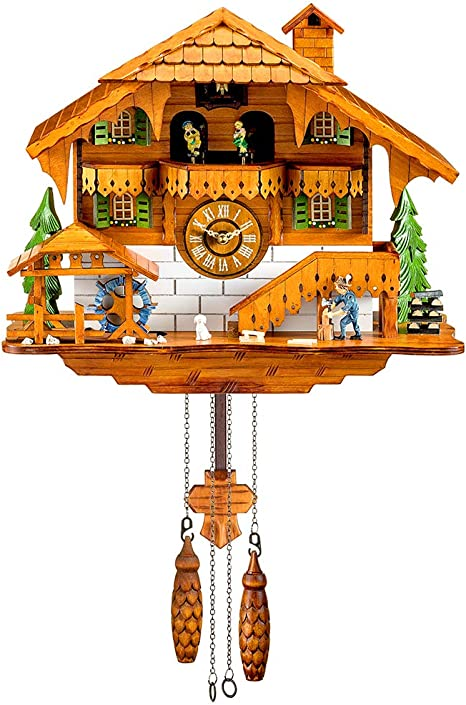 Reloj De Cuco Bosque Negro Cuarzo Reloj De Pared Péndulo Movable Bird Bailarinas Watermill Farmer Kitchen Dining