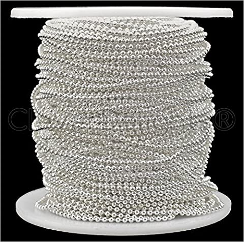 CleverDelights Ball Chain Spool - 100 Feet - 1.5mm Ball (Small) - Shiny Silver Color - Bulk Roll (Dog Tag Chain Packs)