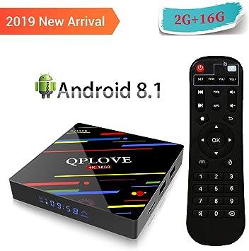 QPLOVE Max+ Android 8.1 TV Box 2GB RAM 16GB ROM con RK3328 Quad-Core 64bit Processor, 2.4 GHz WiFi H.265 HDMI 2.0 Output 4K*2K UHD Android Set-Top Box: Amazon.es: Electrónica