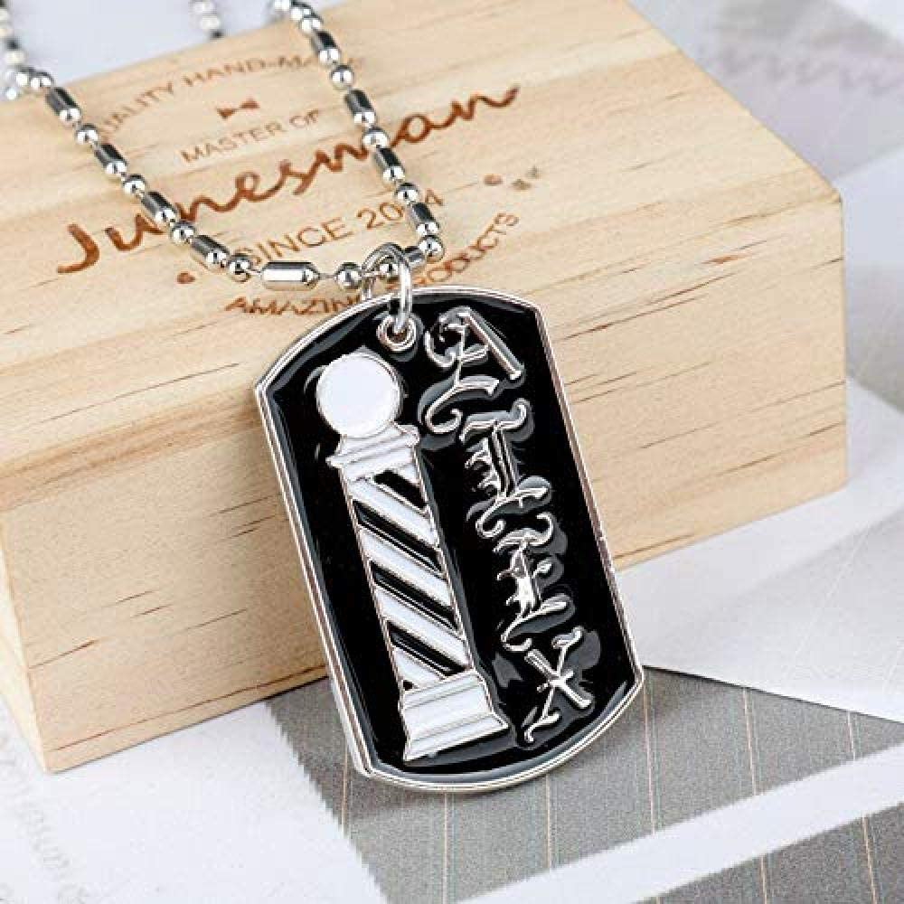 N//H Hairdresser Barber Pole Pendant Necklace Magic Wand Letter Necklace for Women Men Personality Charm Fashion