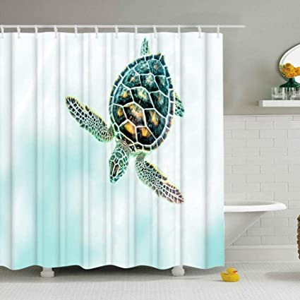 Turtle Decor Shower CurtainSea In White And Turquoise Ombre Ocean Nautical Matine Life