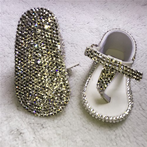 Dollbling Desgined All Covered Clear Glass Rhinestones Baby Shoes Sandbeach Sandals