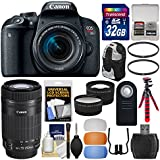 Canon EOS Rebel T7i Digital SLR Camera & EF-S 18-55mm + 55-250mm is STM Lens + 32GB Card + Backpack + Tripod + Filters + Tele/Wide Lens Kit