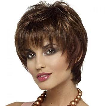 FAI Moda Oscuro marrón Corto Derecho Pelucas para Mujer Sintético Calor Resistente Cabello Natural Mirando Mullido