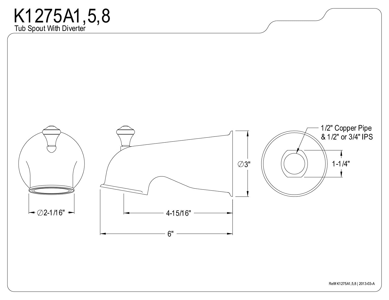 Oil Rubbed Bronze KINGSTON BRASS K1275A5 6-Inch Universal Diverter Tub Spout