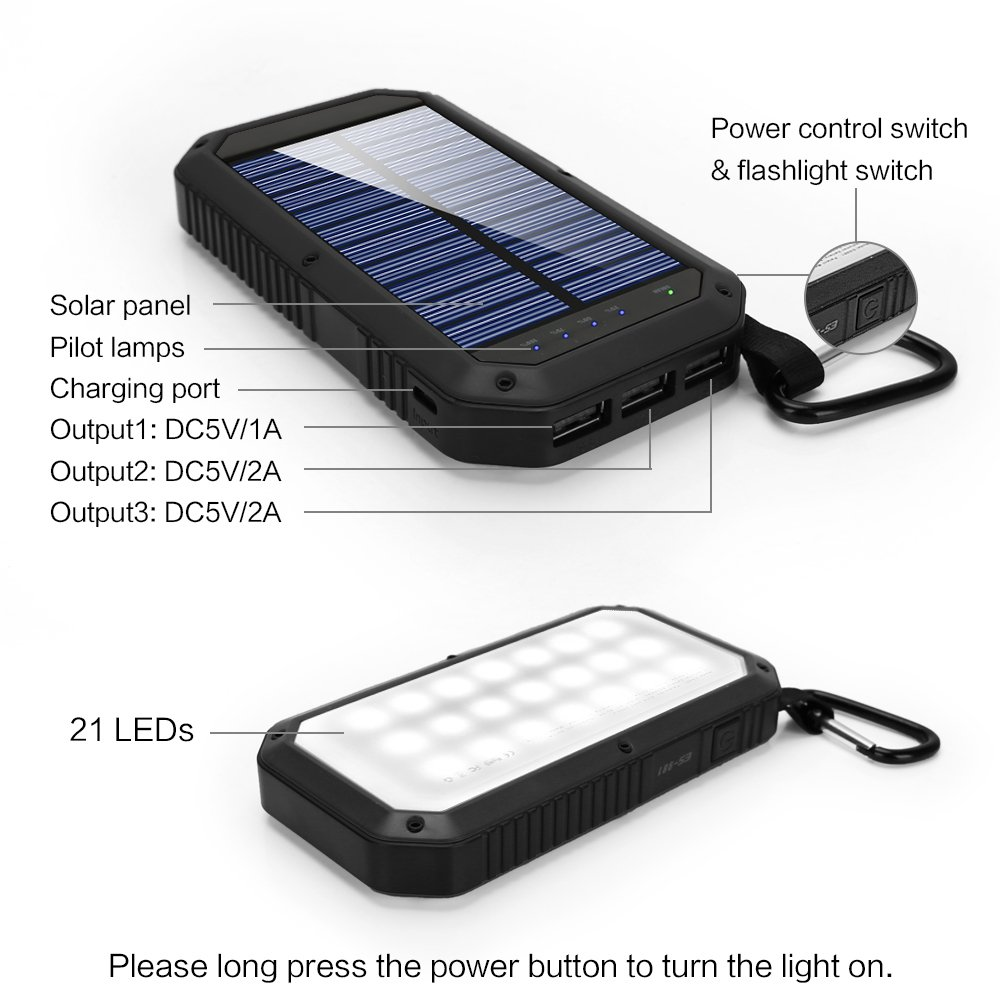 Solar Charger 8000mAh, BESWILL 3 USB Ports and 21 LED light Portable Solar External Battery Power Bank Phone Charger for iPhone, iPad, Samsung, Android and other Smart Devices by BESWILL (Image #4)