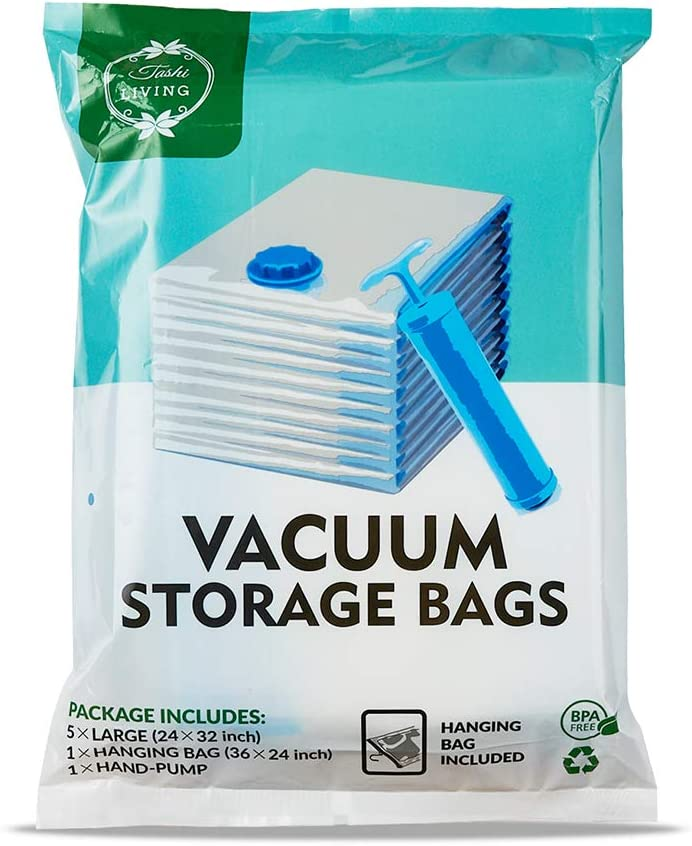"TashiLiving Vacuum Storage Bags, Space Travel Bags for Clothes, Bedding, Pillows, Comforters 6 Pack (Large - 5 Pack 24"" x 32"" + 1 Hanging Bag) with Hand-Pump for Travel"