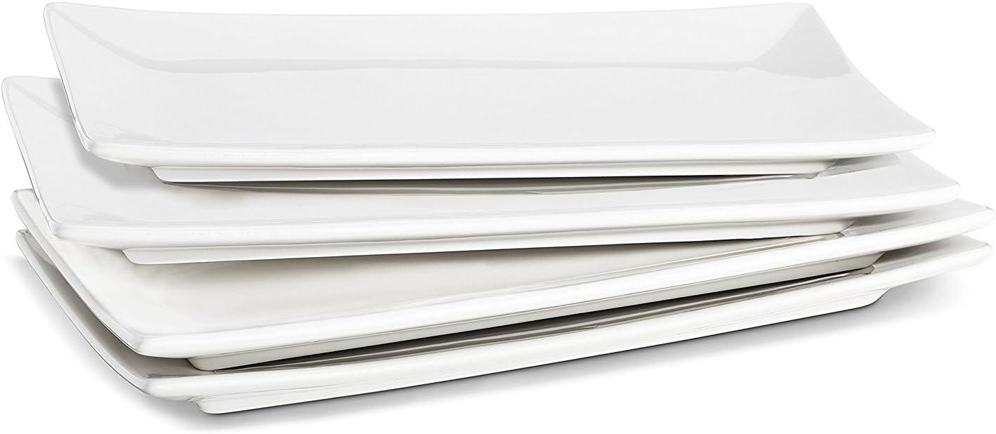 LIFVER 10 Inch Porcelain Serving Platters, Rectangular Plates, White, Set of 4
