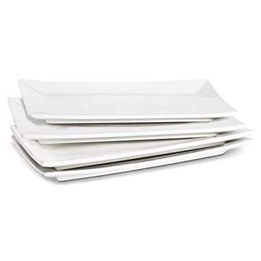 LIFVER 10-inch Porcelain Serving Platters, Rectangular Plates, Natural White, Set of 4