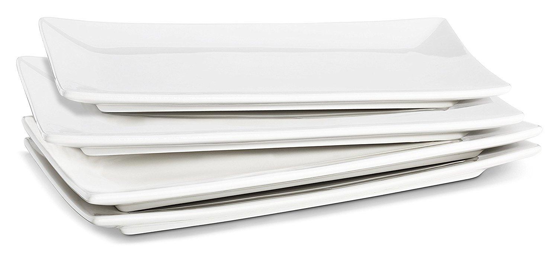 Lifver 10-inch Porcelain Serving Platter/Rectangular Plates, Natural White, Set of 4