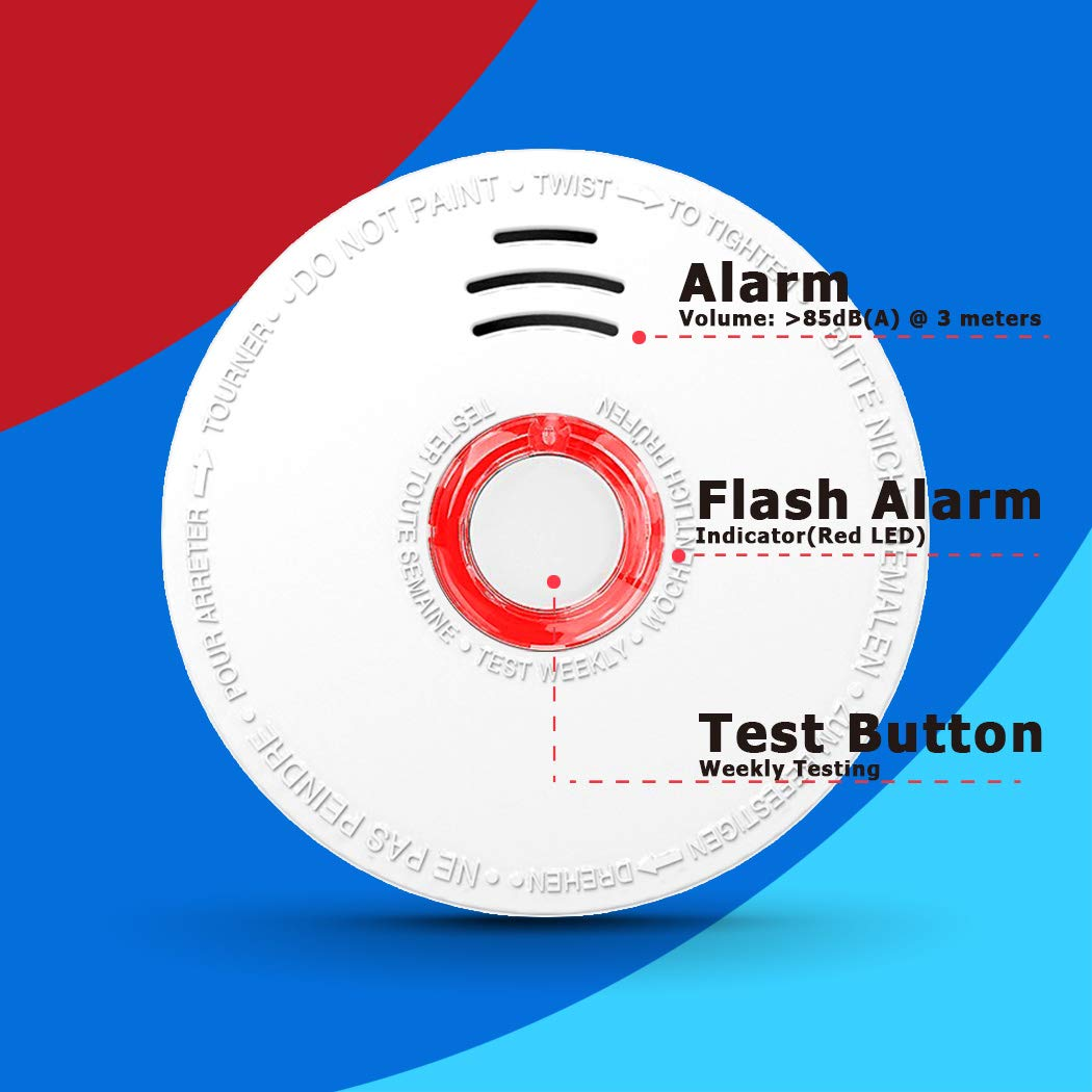 GS528A Big Test Button,Low Battery Signal Alarm 4 Pack Fire Alarm SITERWELL Smoke Detectors DC 9V Battery Operated Power,Easy Install /& Safety Clip Photoelectric Smoke Alarms with UL Listed