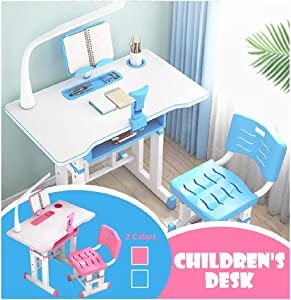 TOPTEL Height Adjustable Kids Desk and Chair, Set Children Study Table, Kids Desk Ergonomic Design School Students Writing Desk Tilt Desktop Storage Drawer Bookstand for Boys & Girls (Blue)