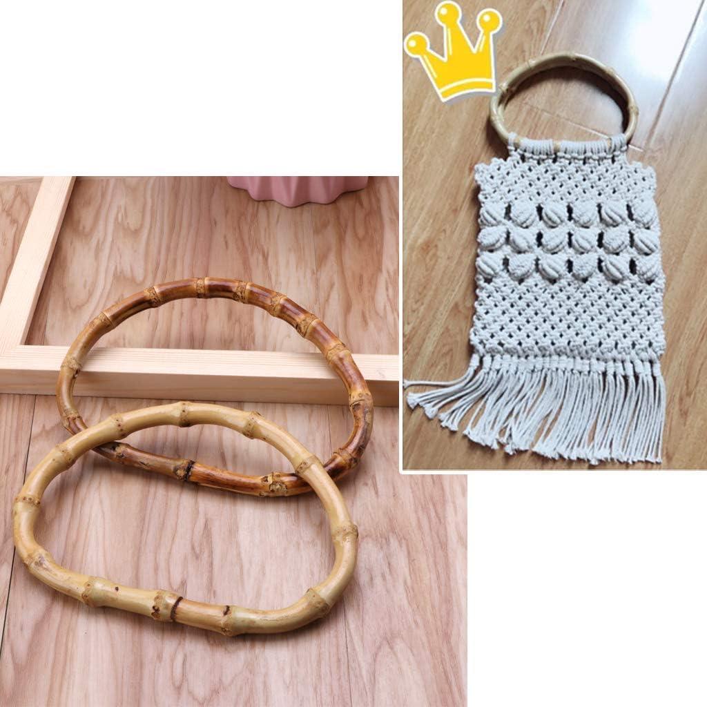 ESden Poign/ée de sac en bambou en forme de D 13 cm one a
