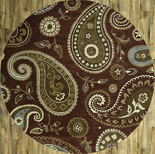 - New Oushak Agra Hand Tufted Oriental 10 ft Round Rug Traditional Brown 100% Wool (10' 1