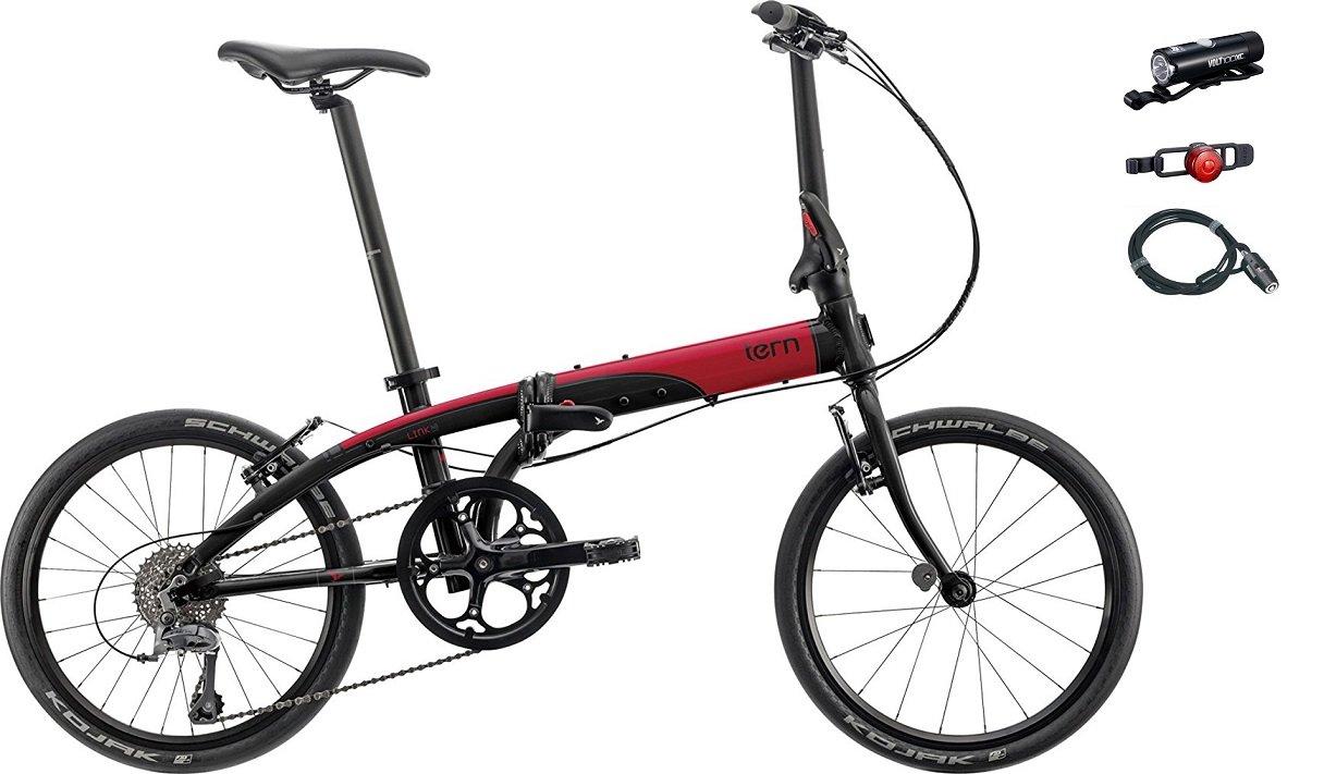 2018年モデル Tern(ターン) Link N8(リンク N8) 20インチ折り畳み自転車 +フロントライト、テールライト、ロングワイヤー錠 B0745B1GBW ブラック/レッド ブラック/レッド