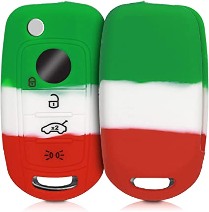 Silicone Protective Key Fob Cover for Fiat Lancia 3 Button Car Flip Key kwmobile Car Key Cover for Fiat Lancia Red