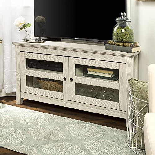 New 44 Inch Wide White Wash Finished Corner Television Stand ()