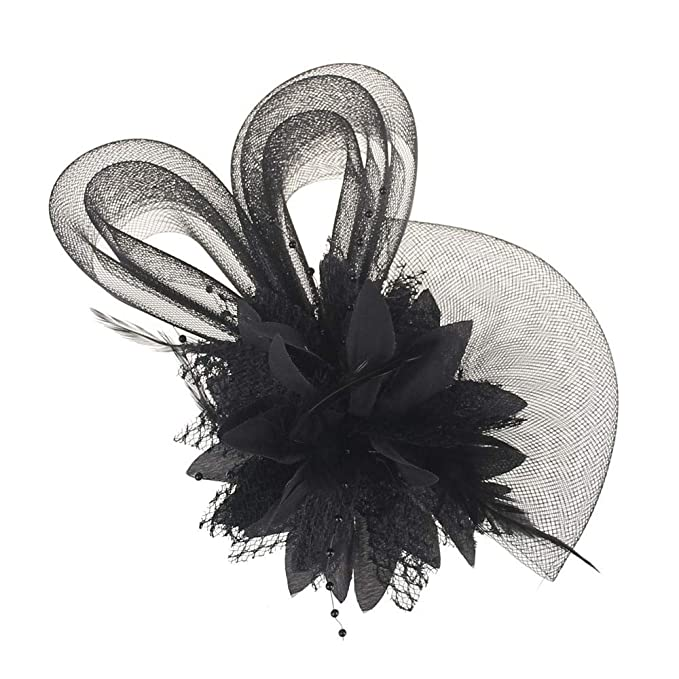 3758b997bb2b Women Sinamay Fascinator Wedding Cocktail flower and feather hair fascinator  mounted on a band Headband Aliceband Hat Fascinator Wedding Ladies Day Race  ...