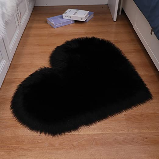 Faux Sheepskin Fur Rug Soft Carpet Black Couch Chair Cover Seat Pad Area Rugs Area Rugs Runners Pads