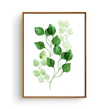 Hepix Green Leaves Canvas Wall Art Botanical Print Wall Decor Framed Simple Decorative Wall Artwork For Modern Home Decor Stretched And Framed Ready