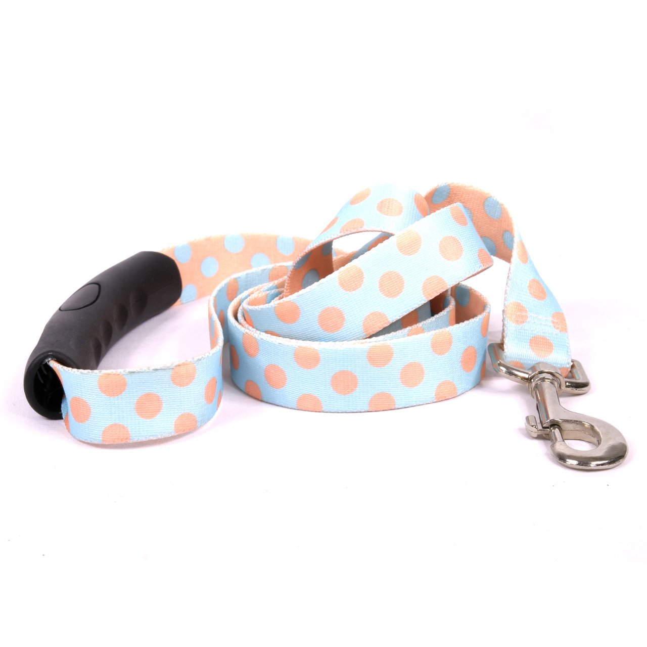 Yellow Dog Design Blue and Melon Polka Dot EZ-Grip Dog Leash with Comfort Handle 1'' Wide and 5' (60''), Large