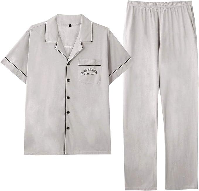 GOSO Pijama para Hombre Conjunto de algodón con Botones Ropa de Dormir Manga Larga/Corta Top con Pantalones Largos Suave Cómodo Ropa de Dormir: Amazon.es: Ropa y accesorios