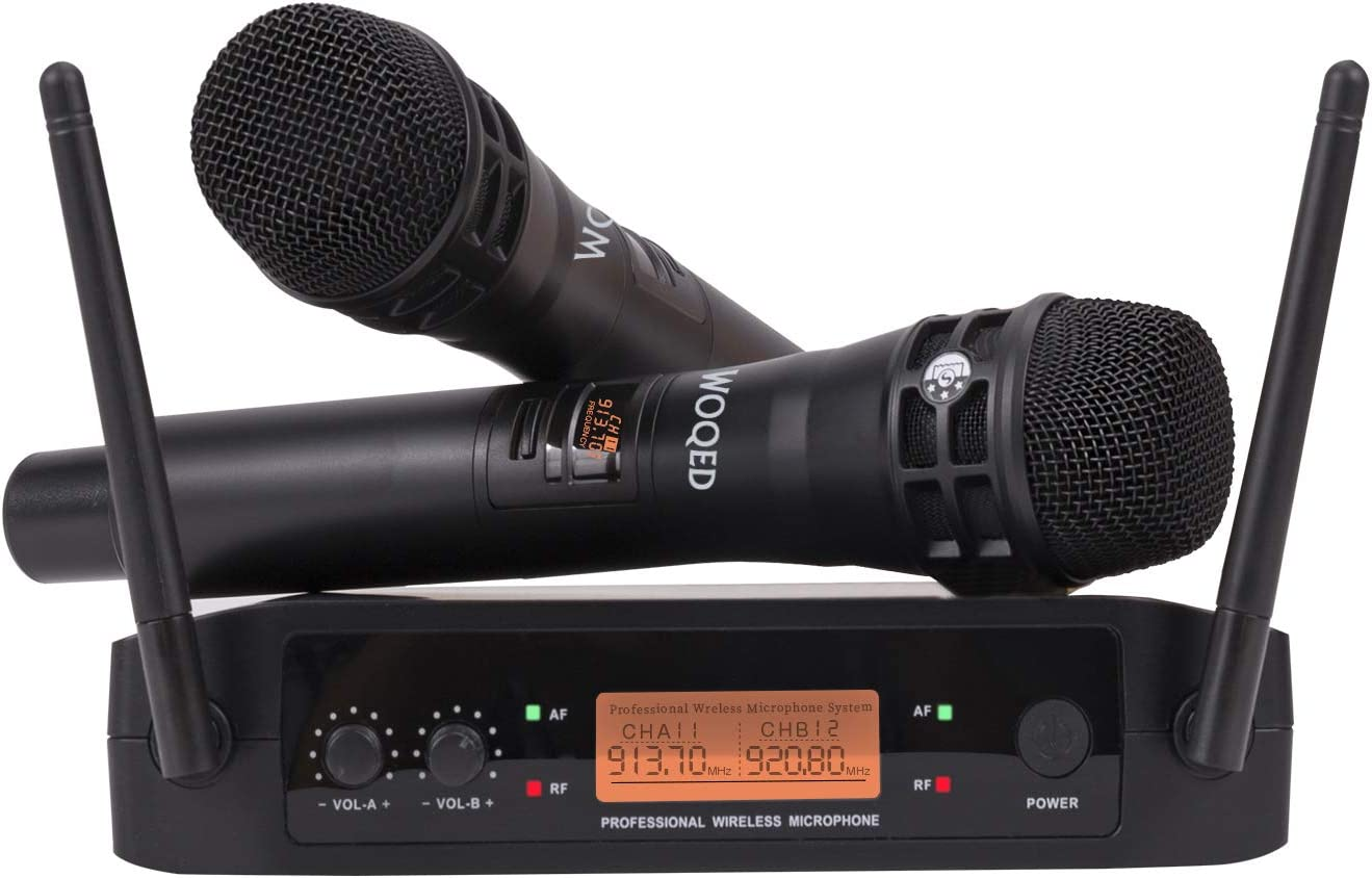 Wireless Microphone, WOQED Microphone for Singing, UHF Wireless Microphones, Karaoke Microphone, Excellent Sound Quality Mic for Singing, Wedding, Karaoke, Parties, Church, Events, Range 130 ft