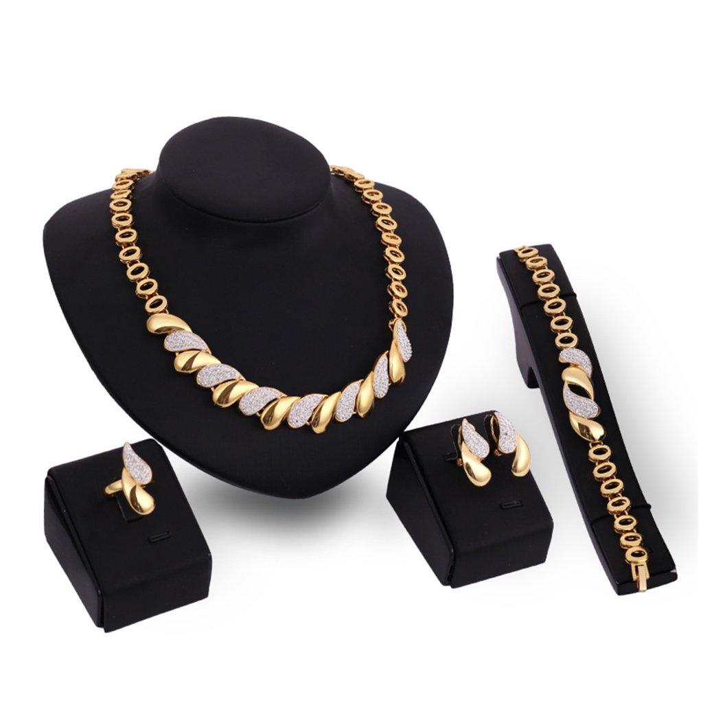 Collar con Gargantilla de Diamantes de imitaci/ón para Mujer Conjunto Pendiente Anillo Arete Xuniu Juego de Joyas Oreja