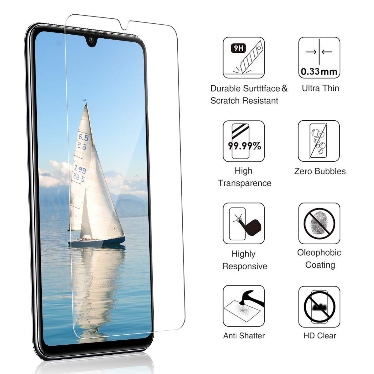 3D-Touch//9H Dureza Anti-Rasgu/ños 3 Piezas - Transparente Sin Burbujas Cristal Templado Vidrio Templado Protector de Pantalla para Huawei P30 Lite F/ácil de instalar