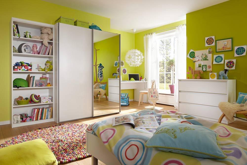 lifestyle4living 5-TLG. Jugendzimmer in weiß mit Regal (B: 72 cm), Schwebetürenschrank (B: 150 cm), Schreibtisch (B: 150 cm), Kommode (B: 106 cm) und Bett (B: 96 cm)