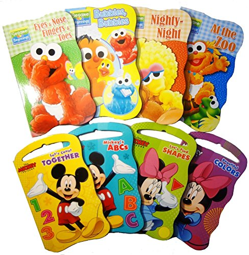 Fun Friends Die Cut - 2 Set of Baby Toddler Beginnings Board Books (Sesame Street Set + Mickey Mouse and Friends Set) - Total 8 Books