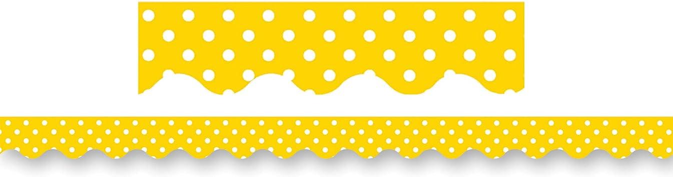 Yellow Mini Polka Dots Border Trim