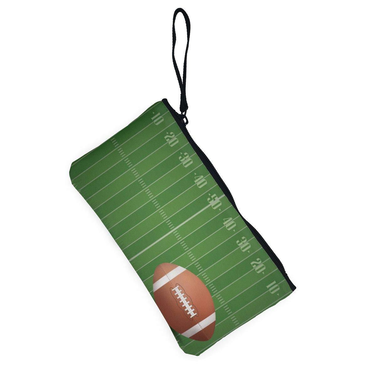 Canvas Cash Coin Purse,American Football Field Ball Print Make Up Bag Zipper Small Purse Wallets