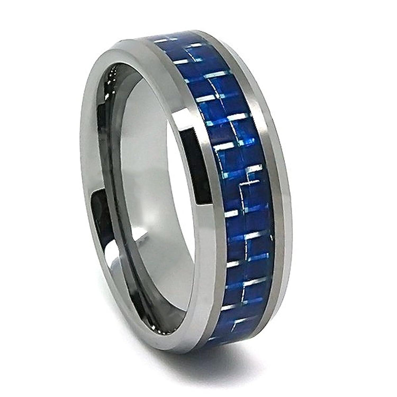 8mm tungsten carbide blue carbon fiber wedding ring sizes