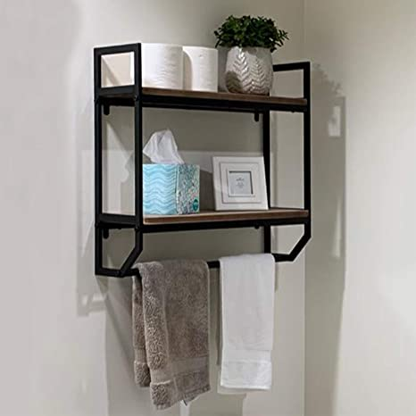 Amazon Com Womio Industrial 23 6 Bathroom Shelves Wall Mounted 2 Tier Rustic Wall Shelf Over Toilet Floating Shelves With Towel Bar Towel Holder Black Home Kitchen
