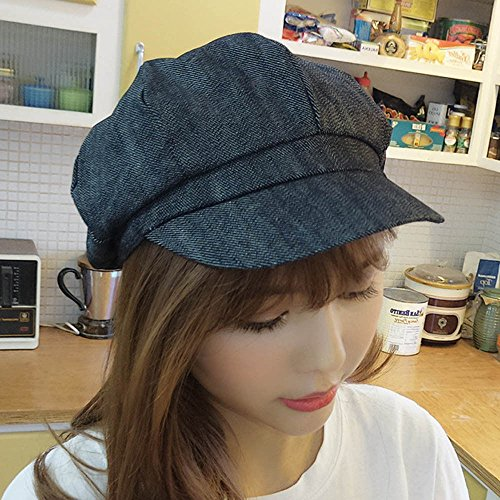 XENO-Women Ladies Denim Newsboy Gatsby Cap Octagonal Baker Peaked Beret Driving Hat(black) (Olympic Beret)