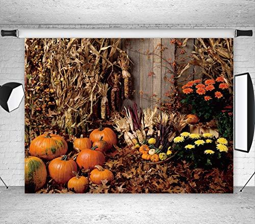 LB Halloween Pumpkin Backdrop for Photography 7x5ft Vinyl Rustic Farm Harvest Season Fall Photo Backdrop for Party Event Portrait Photo Booth -