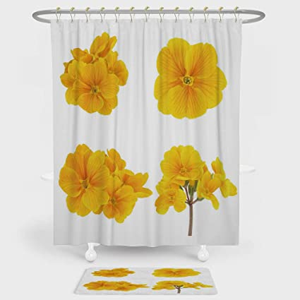 Yellow Flower Shower Curtain And Floor Mat Combination Set Gardening Themed Collection With Little Tender Primrose