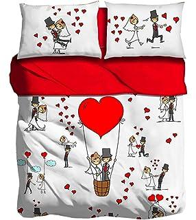 Set Lenzuola Matrimoniali Bassetti.Bassetti Set Lenzuola Matrimoniali Love Is A Couple Amazon It Casa
