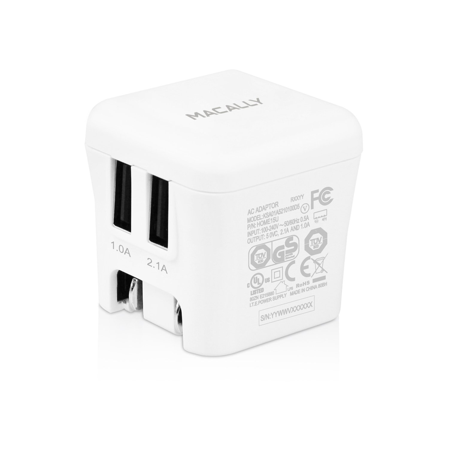 Macally Home15U 15W Two USB Port Wall Charger for iPhone, iPad, iPod, Smartphones and Tablets - Travel Charger - Retail Packaging - White