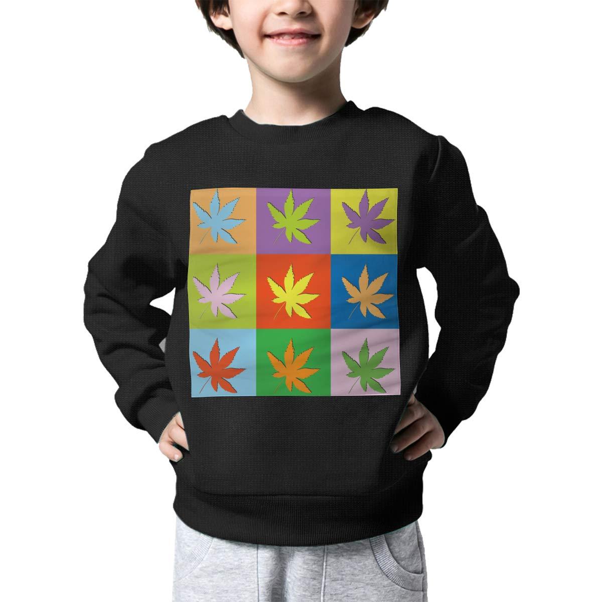 Boys Girls Retro Set Cannabis Pattern Lovely Sweaters Soft Warm Kids Sweater
