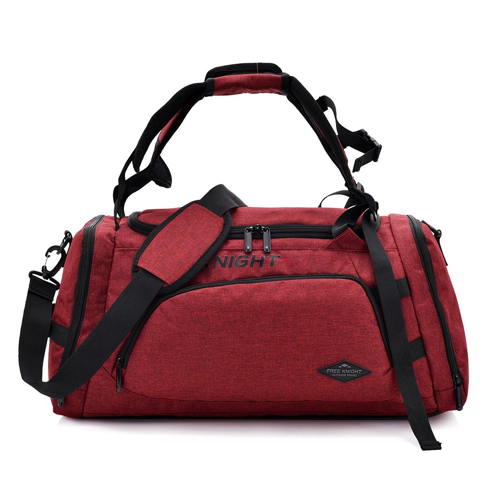 OCCIENTEC Water Resistant Carry on Travel Duffel Bag and Backpack Light Weight Gym Sports Bag with Shoes Compartment-35L-2 in 1 Bag-dark red