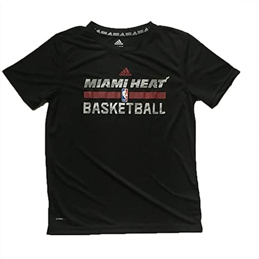 8a8fd9cd0cd adidas Miami Heat Black Weathered Climalite Performance Shirt (Small)
