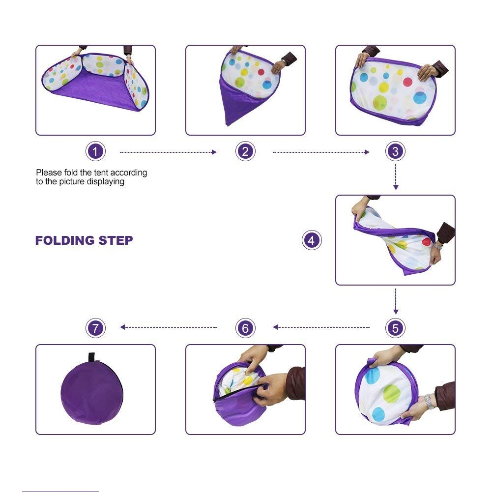 Kids Ball Pit, Karida Large Pop Up Toddler Ball Pits Tent for Toddlers, Children for Indoor Outdoor Baby Ball Pool Playpen with Zipper Storage Bag, Balls Not Included (Purple) by Karida (Image #7)