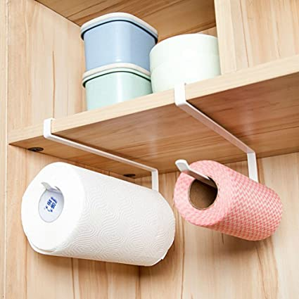 The Best 2pcs Paper Towel Holder Dispenser Under Cabinet Paper Roll Holder Rack Without Drilling For Kitchen Bathroom Easy To Use Bathroom Fixtures