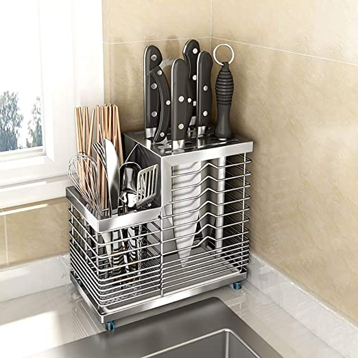 Amazon Com Colture Counterstore Kitchen Utensil Holder Knife Block Cutlery Drainer With 5 Knife Slots 304 Stainless Steel Organizer Caddy Holder Drying Basket Kitchen With Tray Silver Home Kitchen