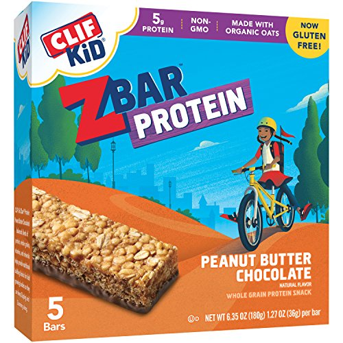 Peanut Butter Block - CLIF KID ZBAR - Protein Snack Bar - Peanut Butter Chocolate (1.27 Ounce Gluten Free Bar, 5 count)